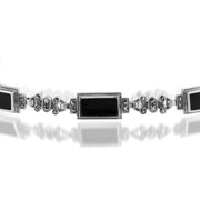 Art Deco Style Rectangle Black Onyx & Marcasite Bracelet in 925 Sterling Silver