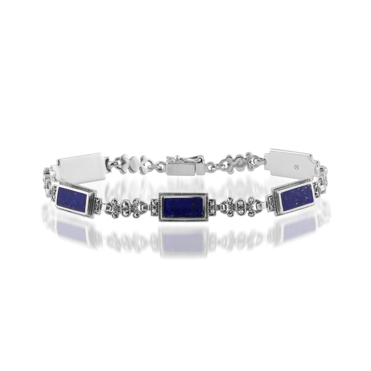 Art Deco Style Rectangle Lapis Lazuli & Marcasite Bracelet in 925 Sterling Silver