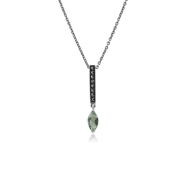 Art Deco Style Marquise Mint Green Quartz & Marcasite Bar Pendant in 925 Sterling Silver