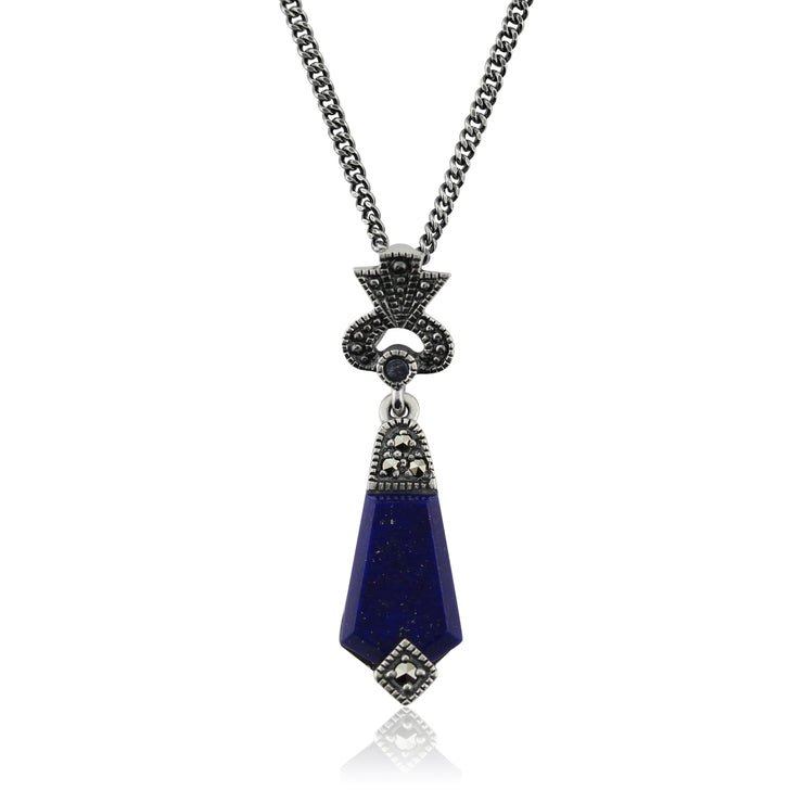 Art Deco Style Lapis Lazuli Cabochon & Marcasite Pendant in 925 Sterling Silver