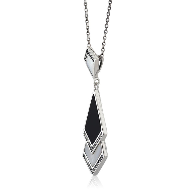 Art Deco Style Mother of Pearl, Black Onyx & Marcasite Pendant in 925 Sterling Silver
