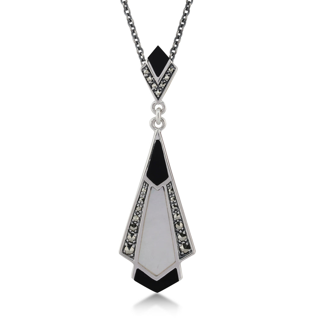 Sterling Silver 925 Jewelry Set Smoky quartz Necklace and Ring with Marcsite stone Triangle and square Shape.