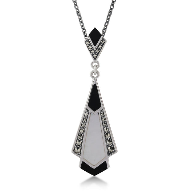 Art Deco Style Cabochon Black Onyx, Mother of Pearl & Marcasite Pendant in 925 Sterling Silver