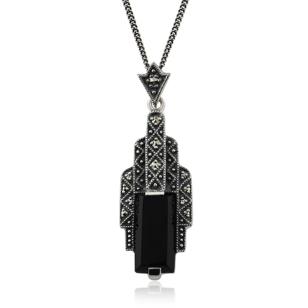 Art Deco Style Rectangle Black Onyx Cabochon & Marcasite Necklace in 925 Sterling Silver
