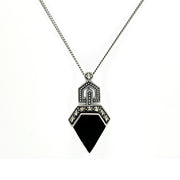 Art Deco Style Irregular Cut Onyx and Marcasite Pendant in 925 Sterling Silver