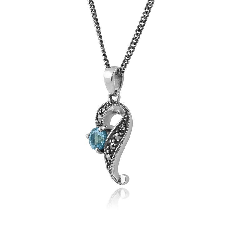 Art Nouveau Style Round Blue Topaz & Marcasite Swirl Pendant in 925 Sterling Silver