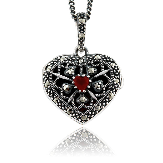 Art Nouveau Style Heart Cornelian & Marcasite Locket on Chain in 925 Sterling Silver