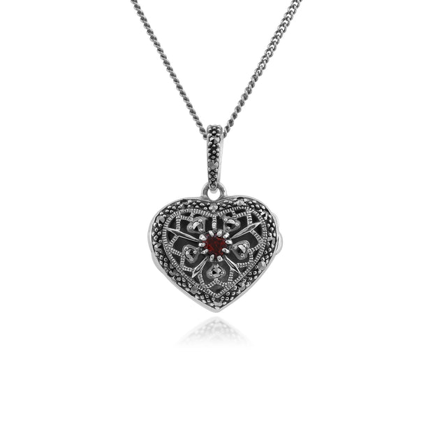 Art Nouveau Style Round Garnet & Marcasite Heart Necklace in 925 Sterling Silver