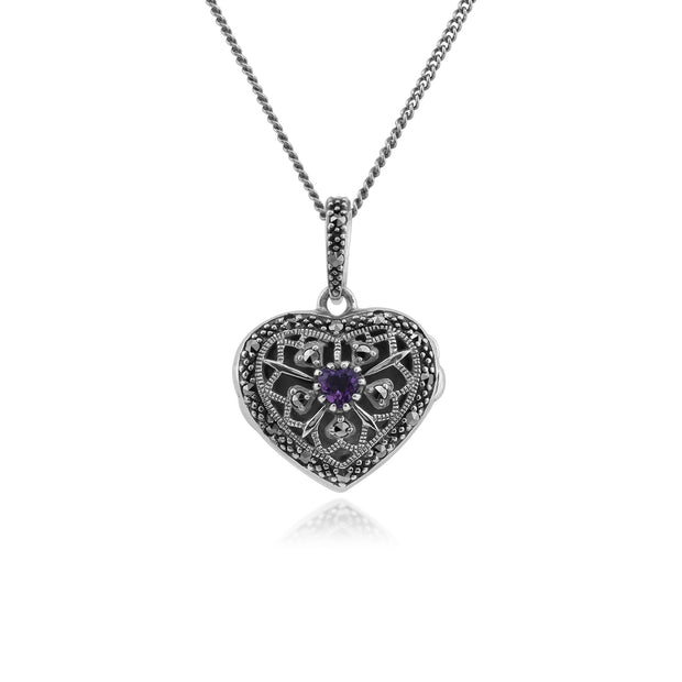 Art Nouveau Style Round Amethyst & Marcasite Heart Necklace in 925 Sterling Silver