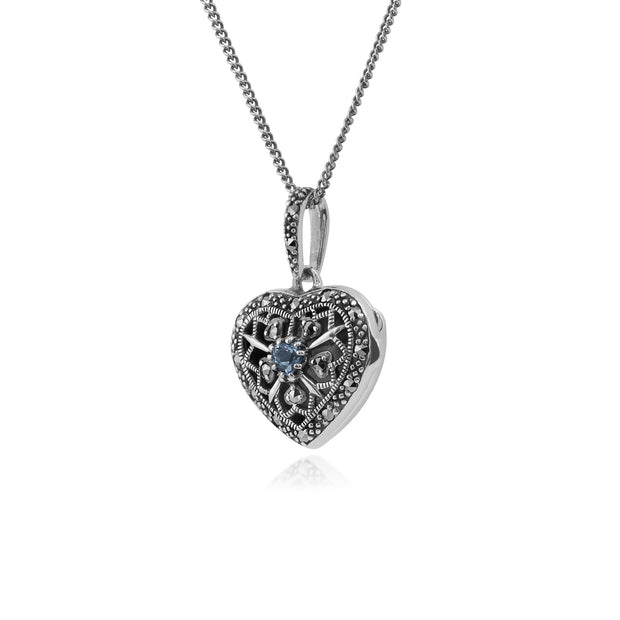 Art Nouveau Style Round Aquamarine & Marcasite Heart Necklace in 925 Sterling Silver