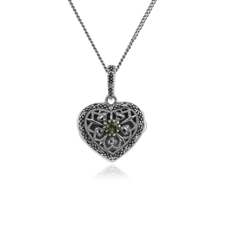 Art Nouveau Style Round Peridot & Marcasite Heart Necklace in 925 Sterling Silver