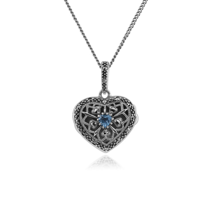 Art Nouveau Style Round Blue Topaz & Marcasite Heart Necklace in 925 Sterling Silver