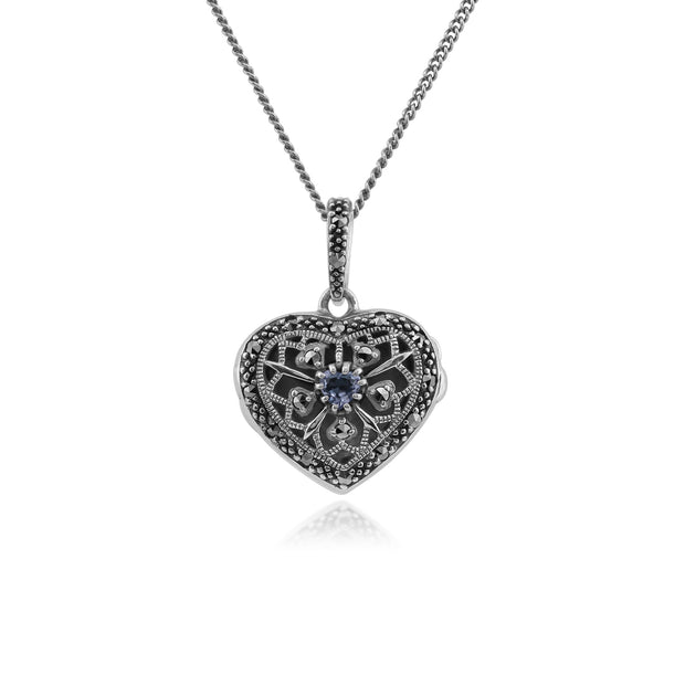 Art Nouveau Style Round Tanzanite & Marcasite Heart Necklace in 925 Sterling Silver