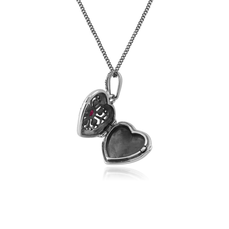 Art Nouveau Style Round Ruby & Marcasite Silver  Heart Necklace