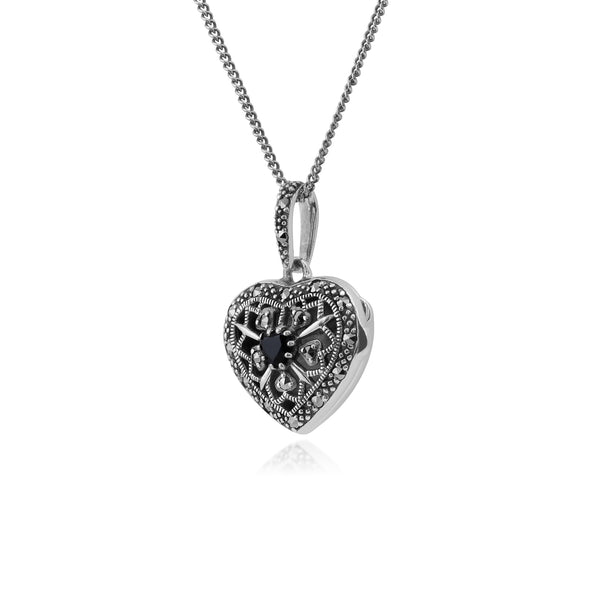 Art Nouveau Style Round Sapphire & Marcasite Heart Necklace in 925 Sterling Silver