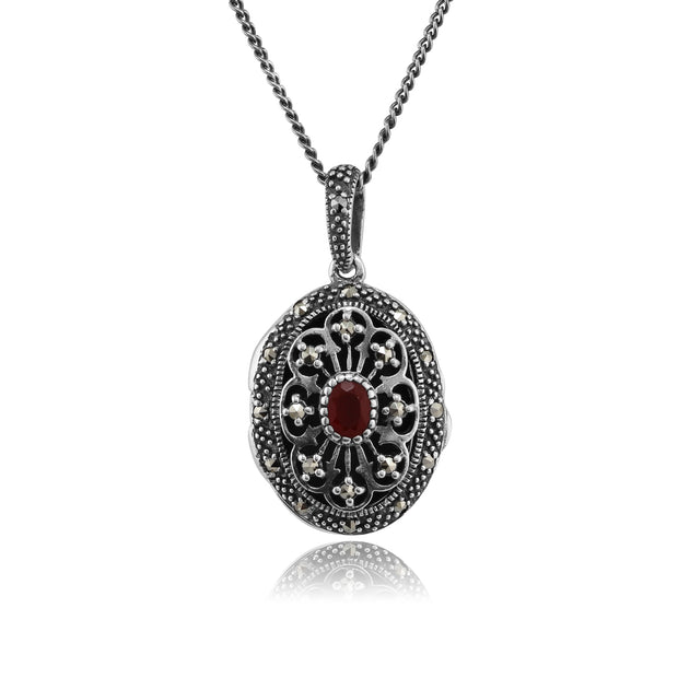 Victorian Style Oval Cornelian & Marcasite Locket on Chain in 925 Sterling Silver