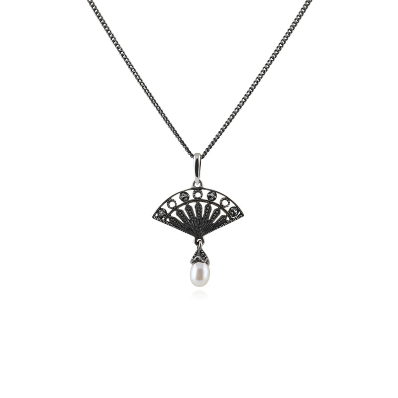 Art Deco Style Freshwater Pearl & Marcasite Pendant in 925 Sterling Silver