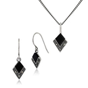 Art Deco Black Onyx & Marcasite Kite Drop Earrings & Pendant Set Image 1
