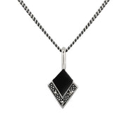 Art Deco Black Onyx & Marcasite Kite Drop Earrings & Pendant Set Image 3