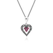 Art Deco Style  Round Ruby & Marcasite Heart Pendant in 925 Sterling Silver