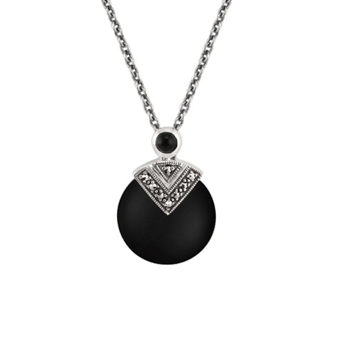 Art Deco Style Round Black Onyx & Marcasite Pendant in 925 Sterling Silver