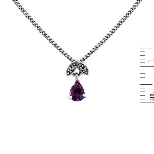 Art Nouveau Style Pear Amethyst & Marcasite Pendant in 925 Sterling Silver