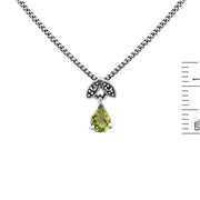 Art Nouveau Style Pear Peridot & Marcasite Pendant in 925 Sterling Silver