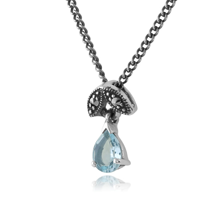 Art Nouveau Style Pear Aquamarine & Marcasite Pendant in 925 Sterling Silver