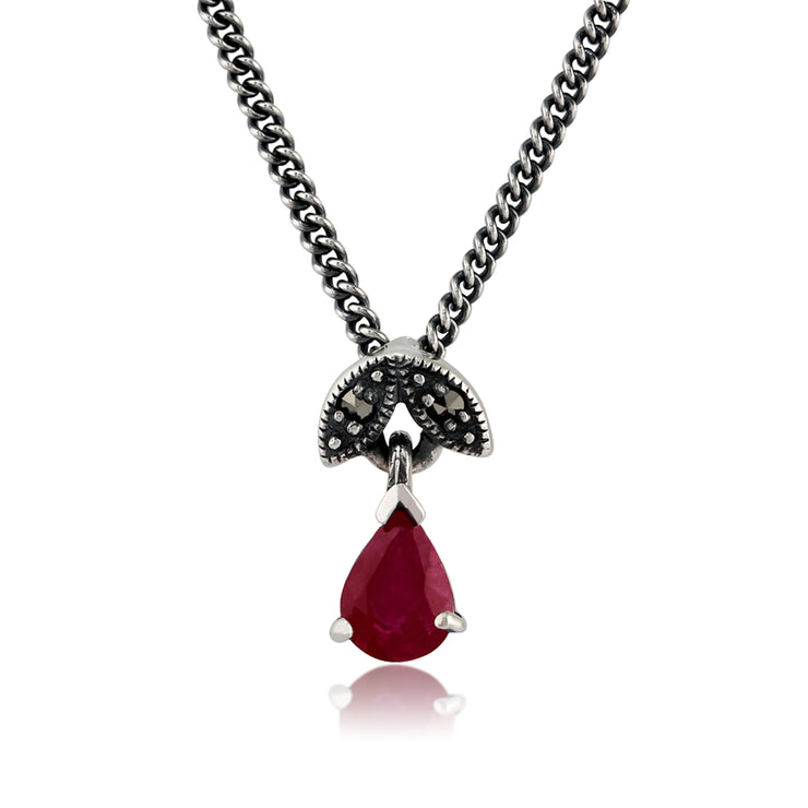 Art Nouveau Style Pear Ruby & Marcasite Pendant in 925 Sterling Silver