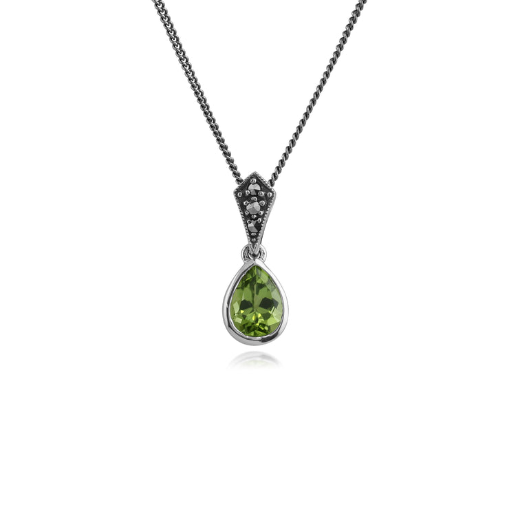 Art Deco Style Oval Pear Peridot & Marcasite Pendant in 925 Sterling Silver