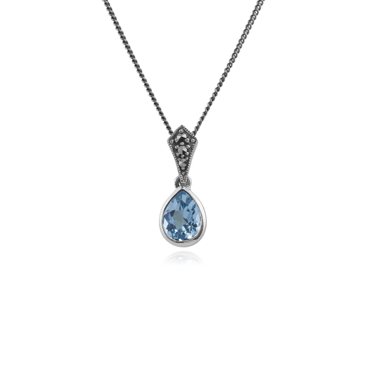 Art Deco Style Oval Pear Blue Topaz & Marcasite Pendant in 925 Sterling Silver