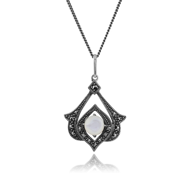 Art Nouveau Style Mother of Pearl & Marcasite Open Work Pendant in 925 Sterling Silver