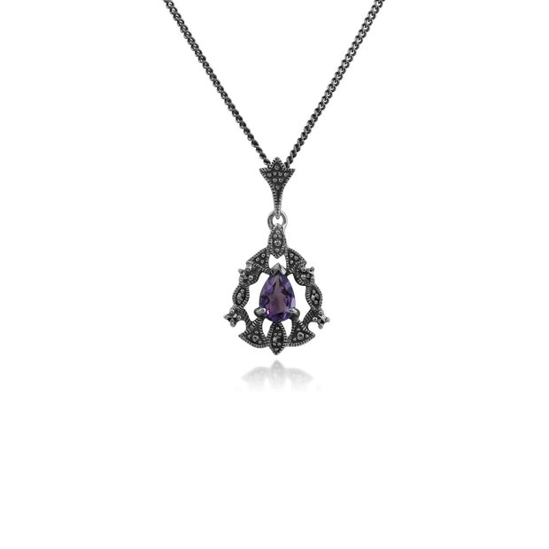 Art Nouveau Style Pear Amethyst & Marcasite Garland Necklace in 925 Sterling Silver