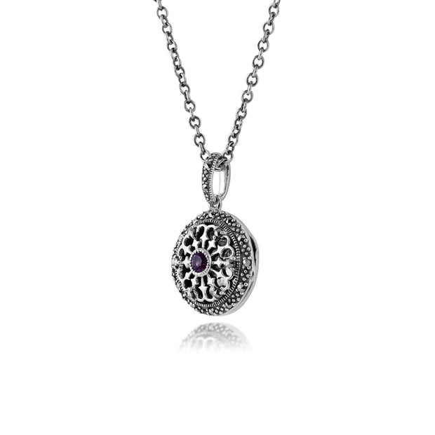 Art Nouveau Style Round Amethyst & Marcasite Locket on Chain in 925 Sterling Silver