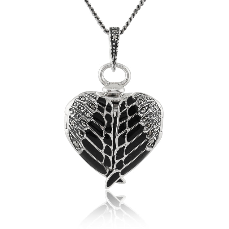 Art Nouveau Style Round Marcasite & Black Enamel Angel Wing Heart Locket on Chain in 925 Sterling Silver