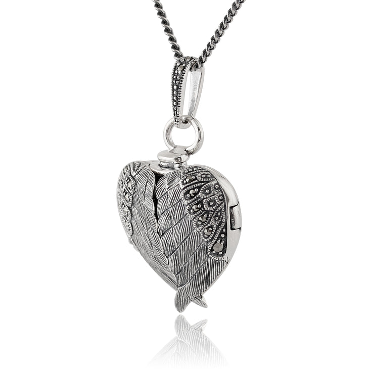 Art Nouveau Style Round Marcasite Angel Wing Heart Locket on Chain in 925 Sterling Silver