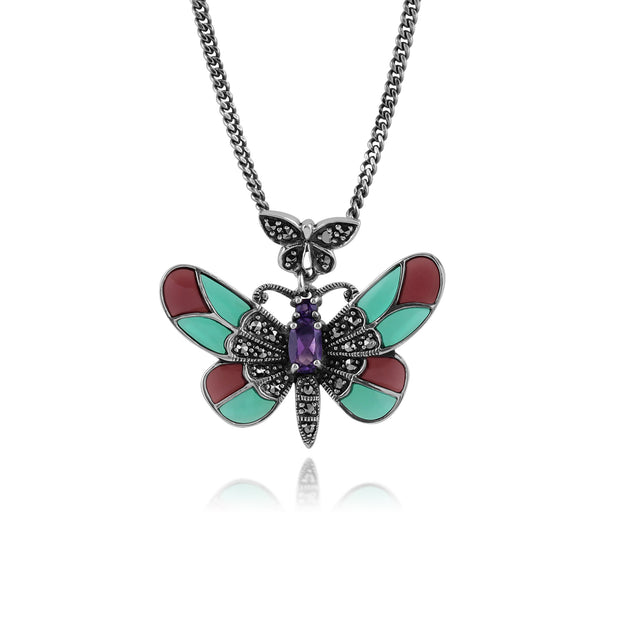 Art Nouveau Style Oval Amethyst, Marcasite & Enamel Butterfly Necklace in 925 Sterling Silver