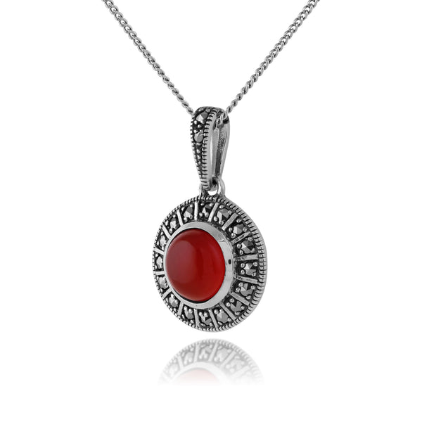 Art Deco Style Round Carnelian Cabochon & Marcasite Pendant in 925 Sterling Silver
