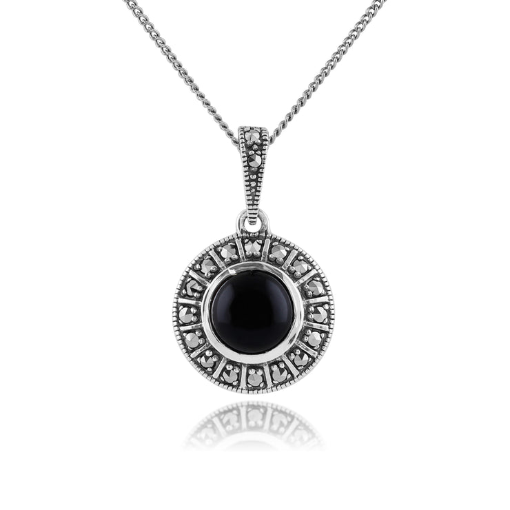 Art Deco Style Round Black Onyx Cabochon & Marcasite Pendant in 925 Sterling Silver