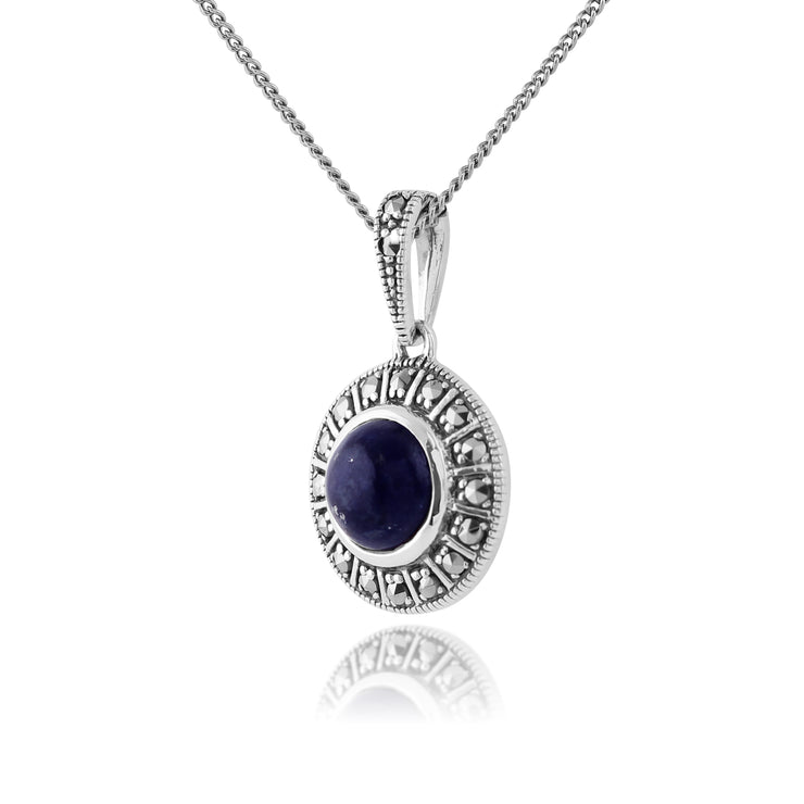 Art Deco Style Round Lapis Lazuli Cabochon & Marcasite Pendant in 925 Sterling Silver