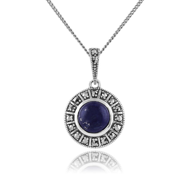 Art Deco Style Round Lapis Lazuli & Marcasite Halo Pendant & Ring Set in 925 Sterling Silver