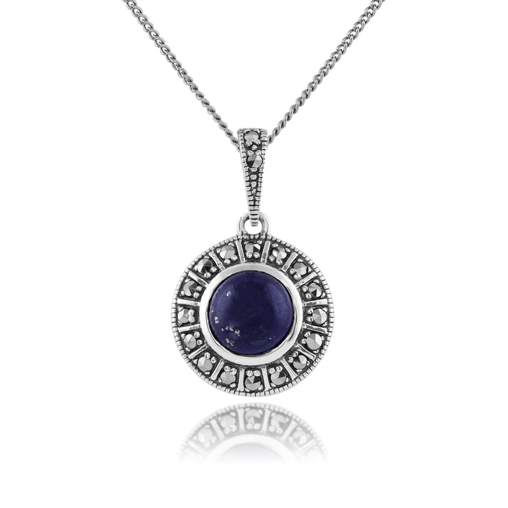 Art Deco Style Round Lapis Lazuli & Marcasite Halo Stud Earrings & Pendant Set in 925 Sterling Silver