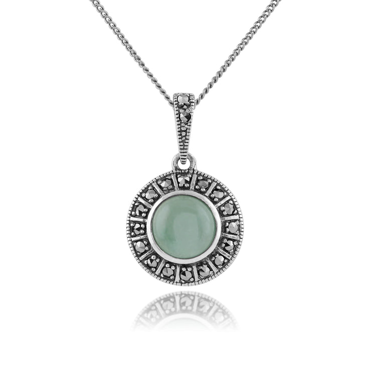 Art Deco Style Round Green Jade Cabochon & Marcasite Pendant in 925 Sterling Silver