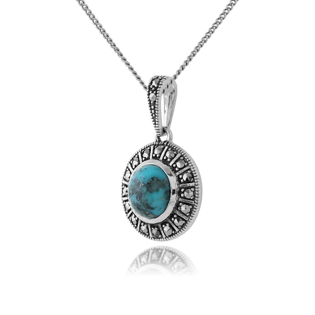 Art Deco Style Round Turquoise Cabochon & Marcasite Pendant in 925 Sterling Silver