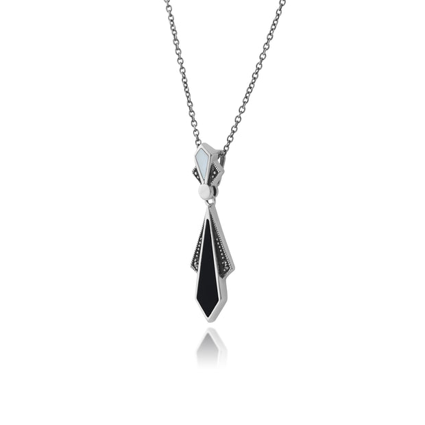 Art Deco Style Diamond Black Onyx, Mother of Pearl & Marcasite Necklace in 925 Sterling Silver