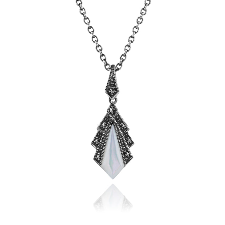 Art Deco Style Mother of Pearl & Marcasite Pendant in 925 Sterling Silver