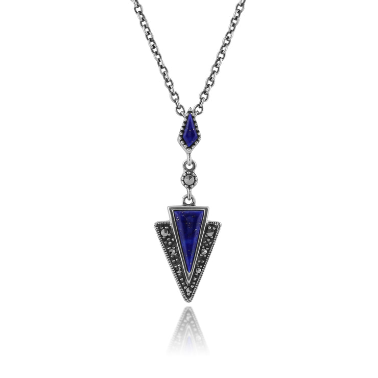 Art Deco Style Lapis Lazuli & Marcasite Pendant in 925 Sterling Silver