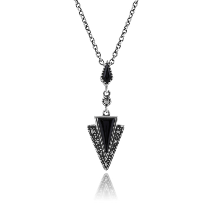 Art Deco Style Black Onyx & Marcasite Pendant in 925 Sterling Silver