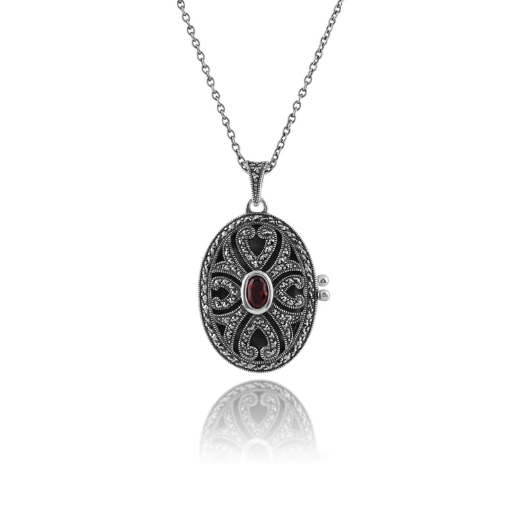 Art Nouveau Style Oval Garnet & Marcasite Locket Pendant in 925 Sterling Silver