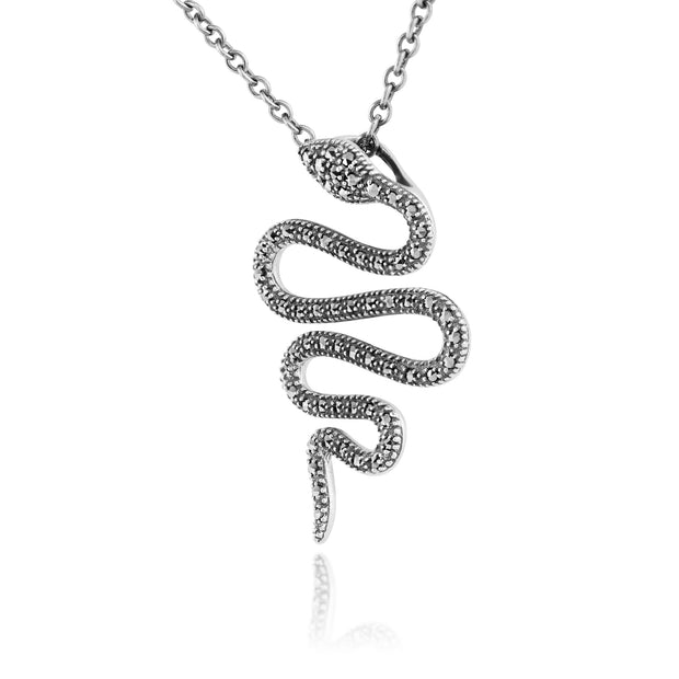 Art Nouveau Style Round Marcasite Snake Drop Pendant in 925 Sterling Silver